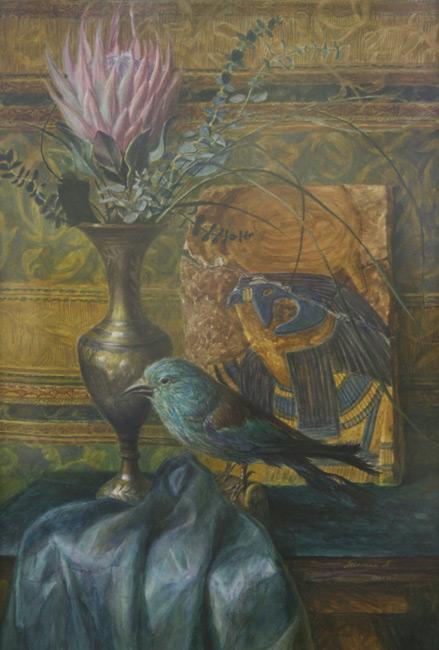 Египетский натюрморт с цветком и птицей