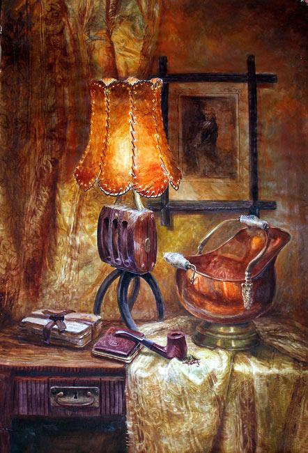 Натюрморт с зажженой лампой