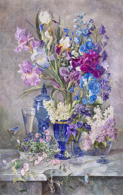 Натюрморт акварель с цветами