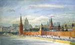 Акварель, пейзаж. Московская панорама