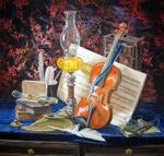 Акварель, натюрморт. Мелодия для скрипки